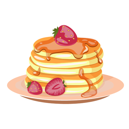 Traditional pancakes with strawberries, maple syrup and whipped cream. Hand drawn breakfast and dessert vector illustration.