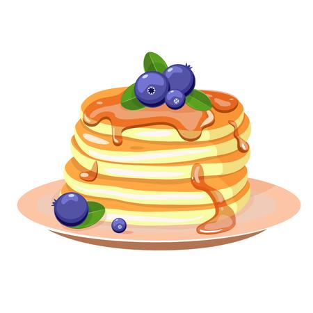 Pfannkuchen mit Blaubeere und Minze . Vektor-Illustration