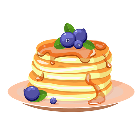 Pancakes with blueberry and mint leaves. Vector illustration.