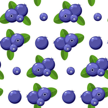 Blueberry vector seamless pattern. Natural fresh ripe tasty blueberries on white. Seamless background. Vector illustration. 일러스트