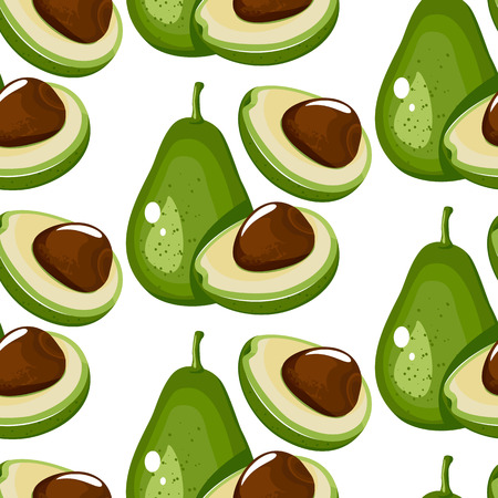 Vector seamless background with whole and sliced avocado fruit on a white background. Ilustracja