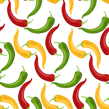 Hot Chili peppers pattern detailed colorful vector illustration template background.