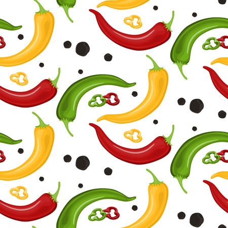 Hot Chili peppers pattern detailed colorful vector illustration template background. Stock Vector - 94763100