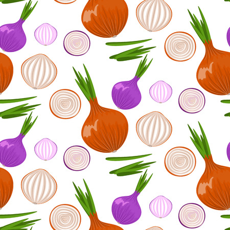 Pretty sketched seamless pattern made of hand drawn onion.Stock vector.