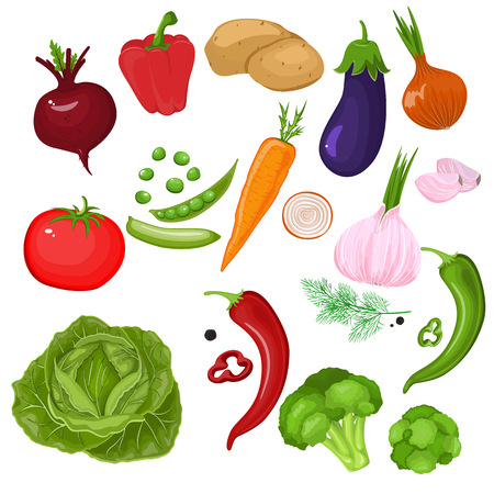 Realistic vegetables. Potatoes, tomatoes, green onions, peppers, carrots and peas. Set of isolated cartoon stock vector icons. Illustration