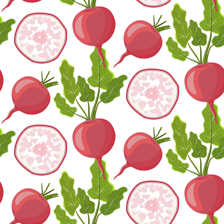 Vegetables vector icons in cartoon style.Stock vector. Collection farm product for restaurant menu, market label. Cartoon radish on isolated white background.