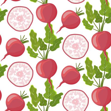 Verduras vector iconos en estilo de dibujos animados. Stock vector. Colección de productos agrícolas para el menú del restaurante, etiqueta de mercado. Rábano de dibujos animados sobre fondo blanco aislado.