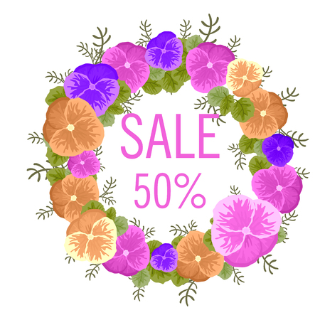 Sale concept background. Word sale made of flowers of viola. Bright sale banner in vector. The happy Easter celebration. Stock vector.