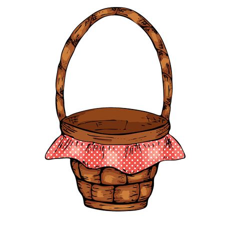 Picnic basket, isolated on white background.