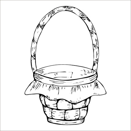 Empty wicker basket with handle