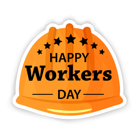 Labor Day Poster. International workers day or May Day Safety helmet flat icon. Stock vector.