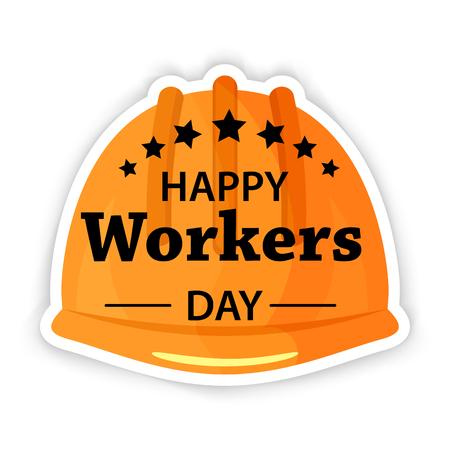 劳动节海报。国际劳动节或五一安全头盔平面图标。股票向量。