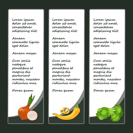 flyers set with colorful vegetables Vector illustration. Illustration
