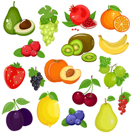 Fruits and berries in cartoon style. Great set for your design. Isolated white background.
