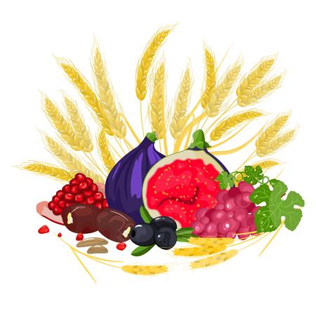 Estandarte Shavuot - Estandarte festivo Shavuot con las siete especies, el queso y los Diez Mandamientos. Stock vector