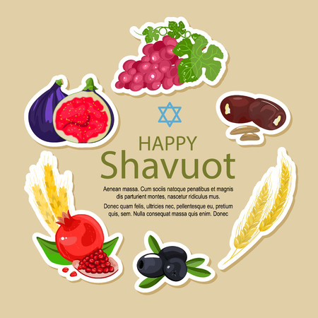 Shavuot icon set, cartoon style. Collection of decoration elements of the Jewish holiday Shavuot with fruits and wheat. Stock vector. Vector Illustration