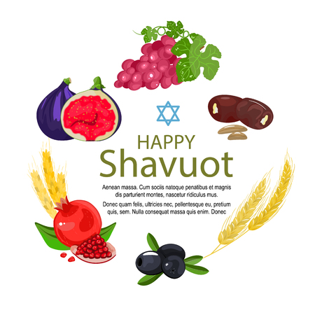 Shavuot icon set, cartoon style. Collection of decoration elements of the Jewish holiday Shavuot with fruits and wheat. Stock vector. Isolated white background. Vettoriali