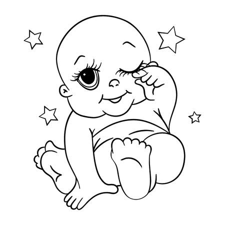 A small child, a large contour. Coloring book for kids. Stock vector. Vector Illustration