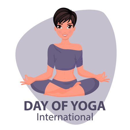 Vector illustration of international yoga day. 21st june international yoga day, vector illustration.