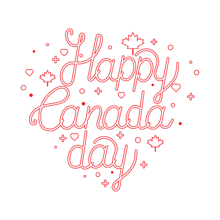 Happy Canada day hand drawn typography design. Outline text. Lettering illustration. Perfect for advertisement, poster, advertisement, invitation or greeting card.
