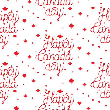 Happy Canada day hand drawn typography design. Seamless fabric for your design.