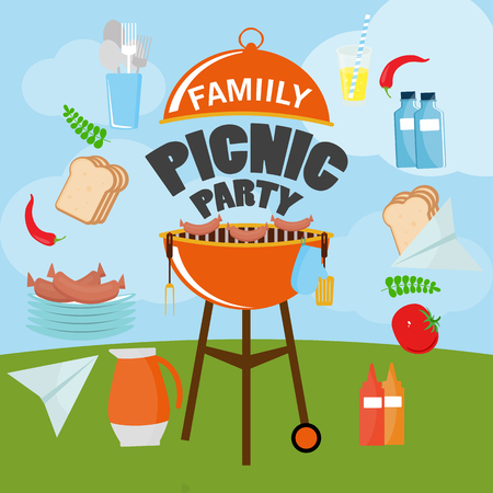 HAPPY independence day of America, card or invitation template. Vector illustration flat design. Grill picnic template.