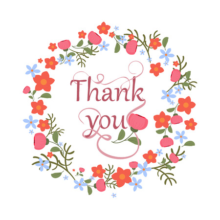 Greeting card with floral ornament and hand-written lettering Thank you Cute, bright background with flowers. Vector illustration.