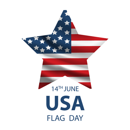Flag Day background template. Vintage USA flag with the inscription 14 of June Flag Day and removable scratches