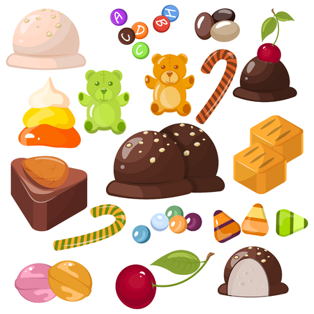 A set of popular sweet desserts for Halloween, Hanukkah, Christmas and birthday. Chocolate bars, candy and other sweet food. Stock vector.