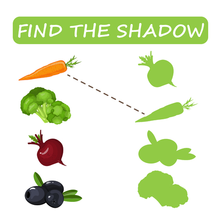 Find the right shade of vegetables. Carrots with olives and zucchini with borax. Set to find the correct shadow matching educational game of the child to compare and connect objects and their true shadows, a simple level of game for preschool children. Stock vector. Illustration