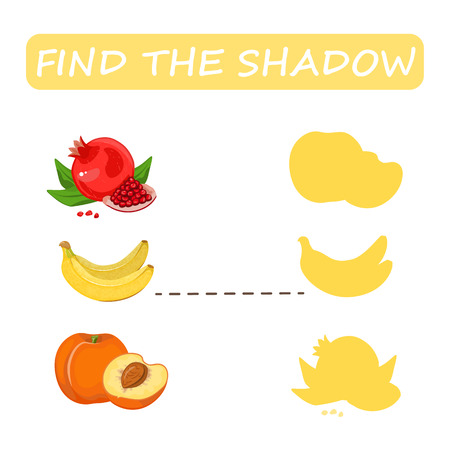 Find the right shade of fruit. Peach with banana and pomegranate. Set to find the correct shadow matching educational game of the child to compare and connect objects and their true shadows, a simple level of game for preschool children. Stock vector. Illustration