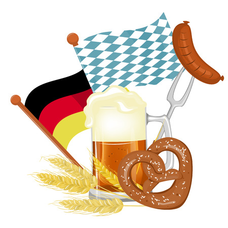 Oktoberfest beer festival. Illustration or poster for the holiday. Stock vector. A large mug of beer.