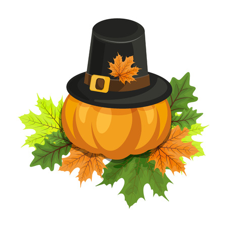 Happy Thanksgiving composition on white. A big ripe pumpkin. Autumn.Vector eps 10.
