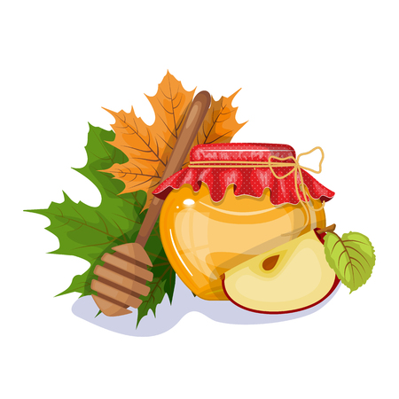 Happy Thanksgiving composition on white. A jar of honey. Autumn Fox. Vector eps 10.