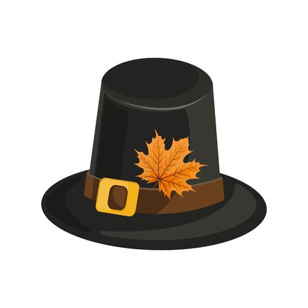 Composición de acción de gracias feliz en blanco. Sombrero negro para las vacaciones. Otoño Fox. Vector eps 10 Foto de archivo