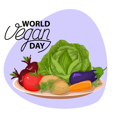 Slices of vegetables. Flat design. Vegetable bowl. Slices of vegetables. Cartoon design. On the plate is a large cabbage. Two red borax. Potatoes and orange carrots.