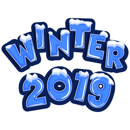 The word winter 2019, covered with layers of snow ice, on the text of snowflakes behind. Stock vector. Text in cartoon style.