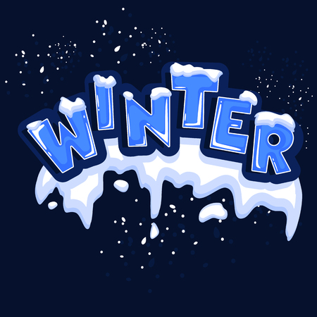The word winter, covered with layers of snow ice, on the text snowflakes behind. Stock vector. Text in cartoon style.