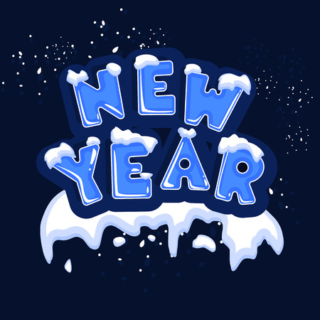 The word new year, covered with layers of snow ice, on the text of snowflakes behind. Stock vector. Text in cartoon style.