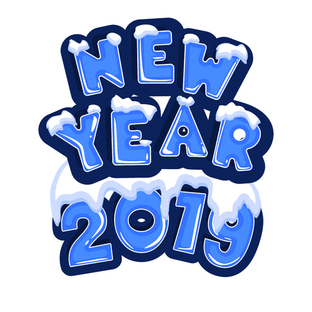 The word new year 2019, covered with layers of snow ice, on the text of snowflakes behind. Stock vector. Text in cartoon style. Illustration