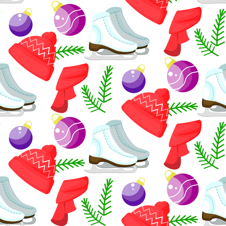 Vector christmas seamless pattern. Cute colorful cartoon illustration. Perfectly for wrapping paper, bed linen, textile, fabric, cover, wallpaper, fashion, kids clothing bedding gift packaging  イラスト・ベクター素材