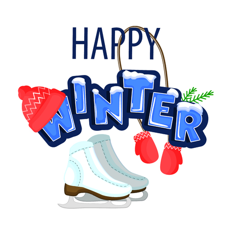 Words Hello winter covered with layers of snow ice. Standing next to the skates. The text is decorated with green twigs, a red cap with mittens. Stock vector. Text in cartoon style. Illustration