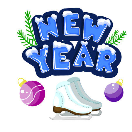 Words new year covered with layers of snow ice. Standing next to the skates. The text is decorated with green twigs. Stock vector. Text in cartoon style.