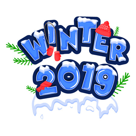 Word Hello winter, covered with layers of snow ice, decorated with a red hat, scarf and mittens with green twigs. Stock vector. Text in cartoon style.