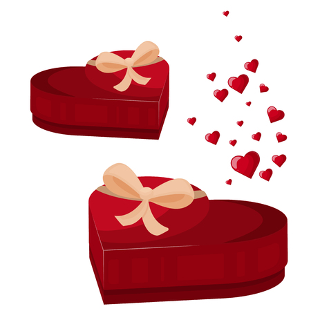 Heart gift box icon. Cartoon illustration heart gift box vector icon for your lovely works.  イラスト・ベクター素材