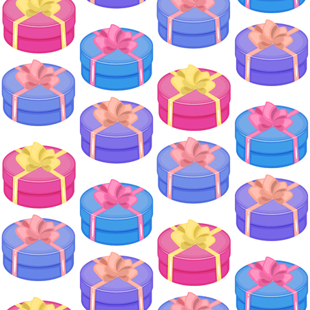 Endless repeating flat box christmas gift gift box present background pattern. Design for wrapping paper or greeting card.  イラスト・ベクター素材
