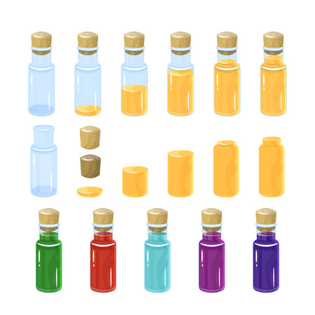 Potion bottles. Vector illustration. colorful set. In the bottle poured a different amount of creepy. Vectores