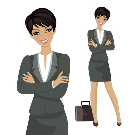 Vector Illustration. Character Happy Business Woman. Business Woman with Smile. Adult person.  イラスト・ベクター素材