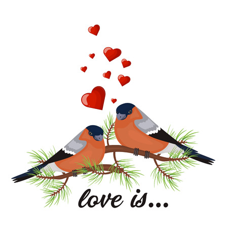 Two birds in love Valentine s day postcard. Vector illustration. Free space for text message.  イラスト・ベクター素材