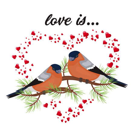 Two birds in love Valentine s day postcard. Free space for text message. Vector illustration.  イラスト・ベクター素材